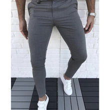 Load image into Gallery viewer, Men Solid Color Zipper Fly Slim Fit Casual Pants