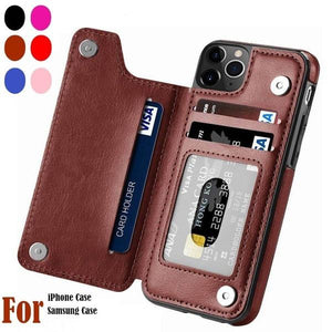 Magnetic Wallet Case Card Slot Shockproof Flip Cover Phone Case