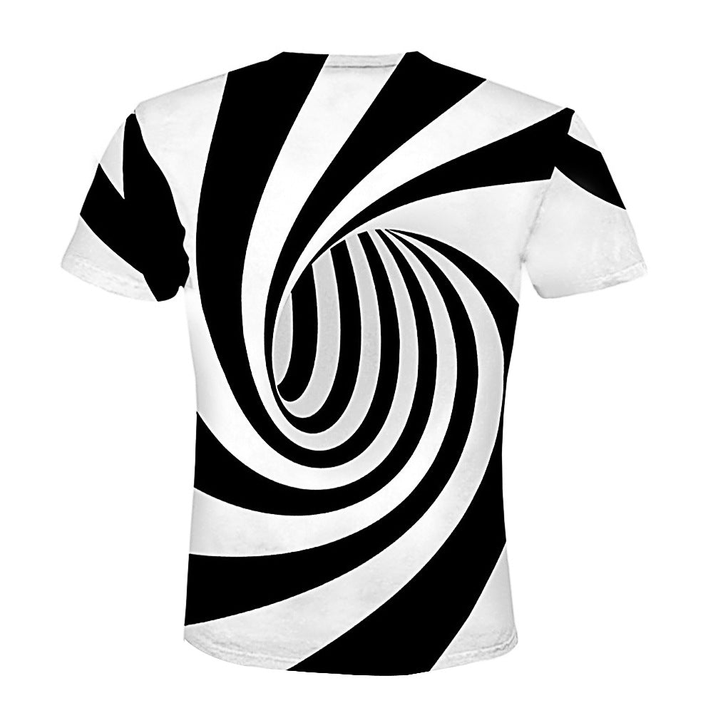 52a803aa8e8f Fashion 3D Abstract Pattern Loose Short Sleeve T-Shirts – widezee