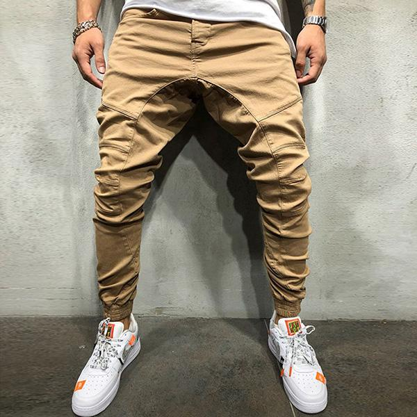 Men's Solid Color Slim Pocket Pants