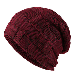 Fashion Solid Plaid Patter Knitted Caps Plush Lining Warm Beanies
