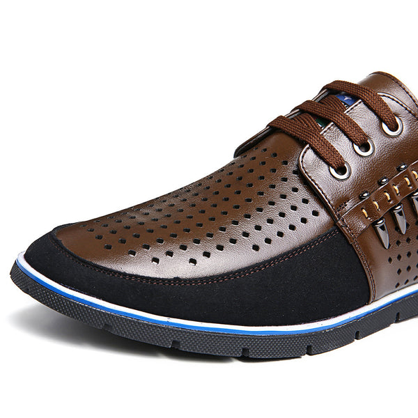 Large Size Men Splicing Hole Breathable Soft Casual Shoes
