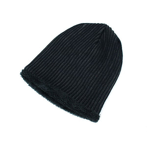 Solid Color Stripe Knit Fashion Beanie Hat Outdoor Skiing Keep Warm Cap