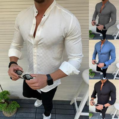 Leisure Solid Color Check Men's Long Sleeve Shirt