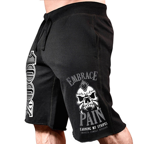 Mens Fitness Leisure Cotton Exercise Print Shorts