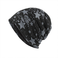 Load image into Gallery viewer, Unisex Winter Warm Soft Skull Knitting Cap Plush Lining Star Printed Beanies