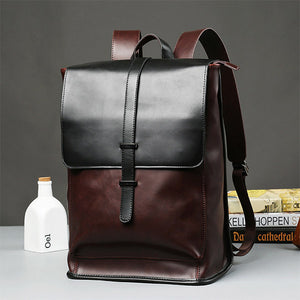 Mens Fashion Vintage Outdoor School Travel PU Backpack