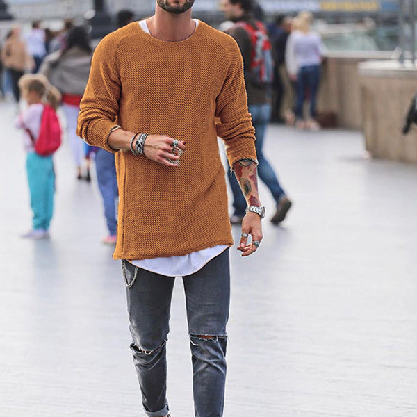 Fashion Men's Knitting Solid Color O-Neck T-shirt