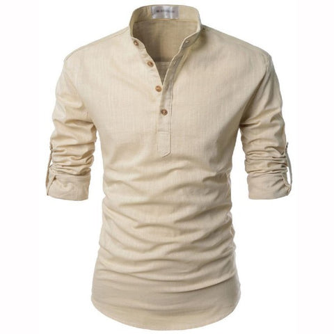 Men's Stand Neck Long Sleeve Shirt