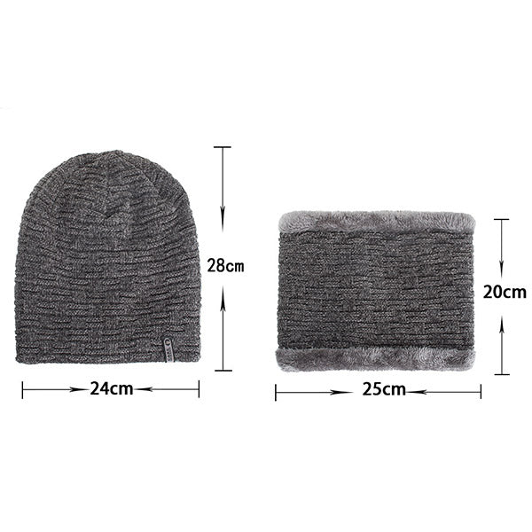 Winter Casual Knit Cap Baggy Beanie Scarf Muffler Sets