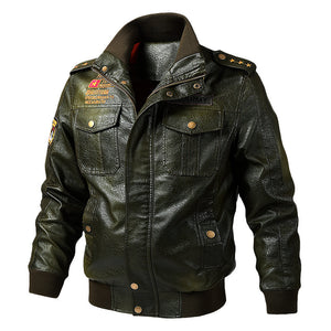Fashion Loose Solid Stand Collar Pilot PU Jacket