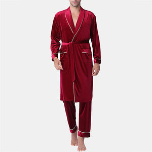 Men Pajamas Robe Set Smooth Plain Bathrobe Loungewear with Pockets