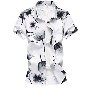 Mens Fashion Short Sleeve Flower Printed Shirt