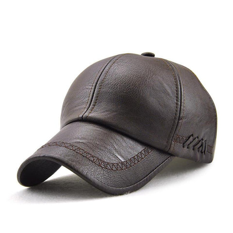Men Artificial Leather Lace-up Adjustable Baseball Caps