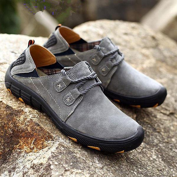 Men Comfortable Genuine Leather Elastic Band Oxfords