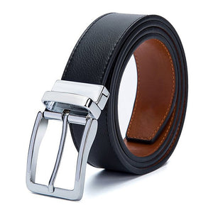 Mens Genuine Leather Rotary Needle Clasp Belts