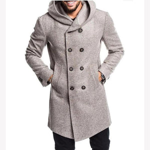 Casual Plain Men's Thicken Warm Hooded Long Sleeve Long Coats