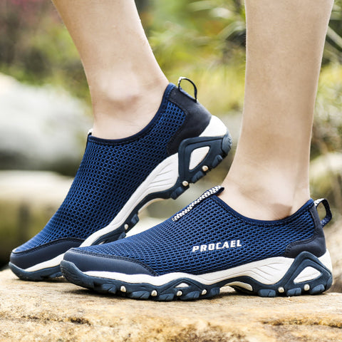 Mens Mesh Breathable Outdoor Slip Resistant Hiking Sneakers