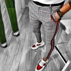 Gentleman Fashion Colorblock Plaid Slim-Fit Pants