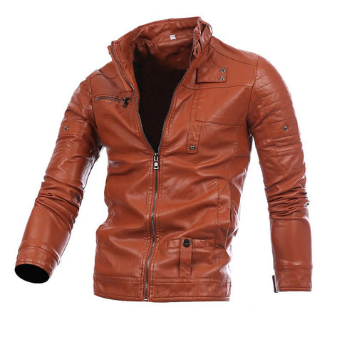 Mens Fashion Stand Collar PU Solid Jacket
