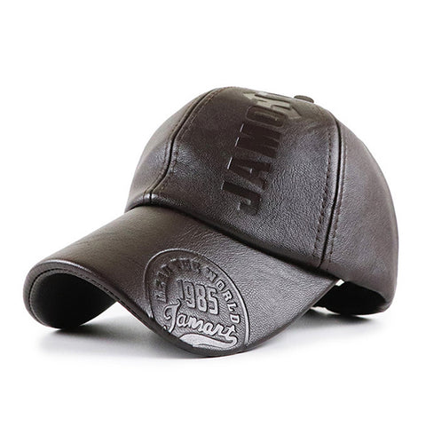 Mens Fashion Autumn Winter PU Baseball Caps