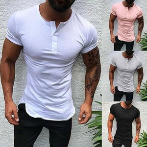 Men's Summer Stand Collar Solid Color Shirt