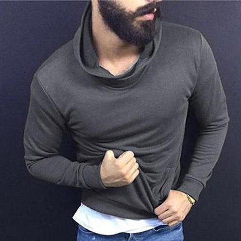 Casual Solid Color Slim Fit High Collar Sweatshirt
