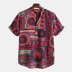 Ethnic Style Printed Breathable Summer Short Sleeve Buttons Tops