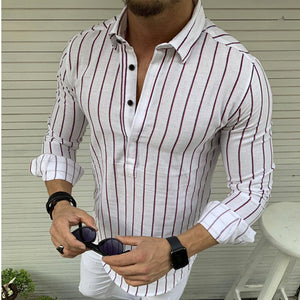 Casual Turndown Collar Long Sleeve Stripe Shirts
