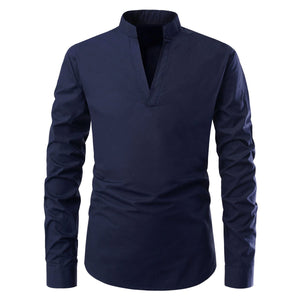 Casual Men Stand Collar Long Sleeve Shirt