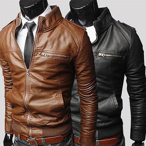 Mens Fashion Slim PU Leather Jacket