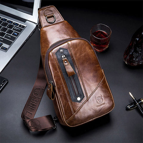 Men Genuine Leather Chest Bag Sling Bag Crossbody Bag