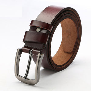 Mens Pin Buckle Genuine Leather Casual Belt