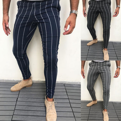 Men Fashion Business Stripe Slim Fit Casual Pants