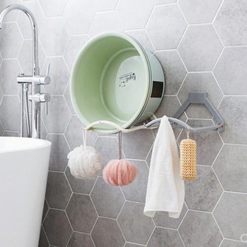 Wall Mounted Foldable Wash Basin Storage Racks Self Adhesive Bathroom Organizer