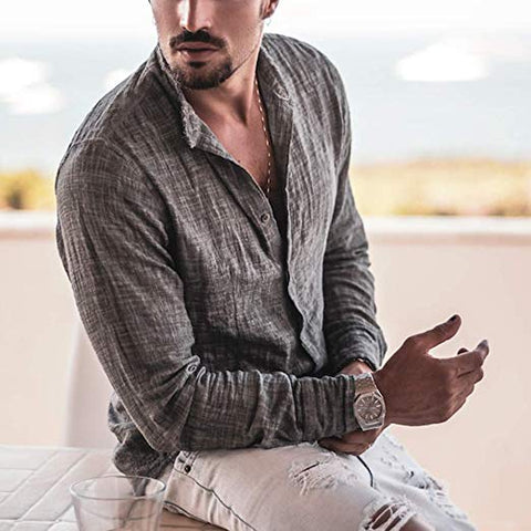 Mens Slim Fit Long Sleeve Solid Color Casual Shirt