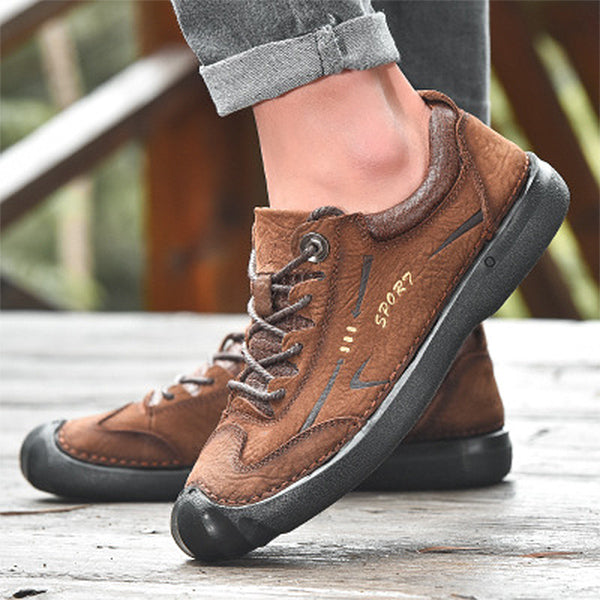 Mens Outdoor Lace Up Flat Shoes Casual Hiking Shoes