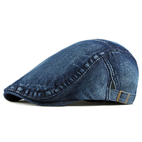 Men Washed Visor Peaked Cap Pure Color Beret Caps