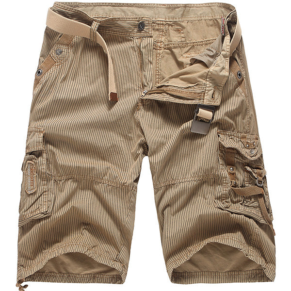 Mens Fashion Solid Color Striped Outdoor Casual Cargo Shorts