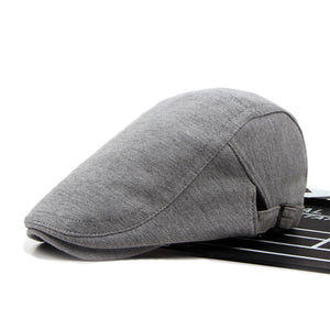 Mens Casual Peaked Forward Cap Adjustable Beret Cap