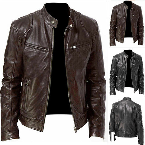 Mens PU Stand Collar Zipper Jacket Fashion Coats
