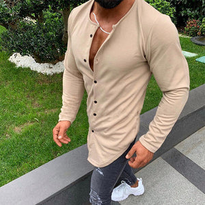 Mens Casual Round Neck Solid Color Long Sleeve T-Shirts