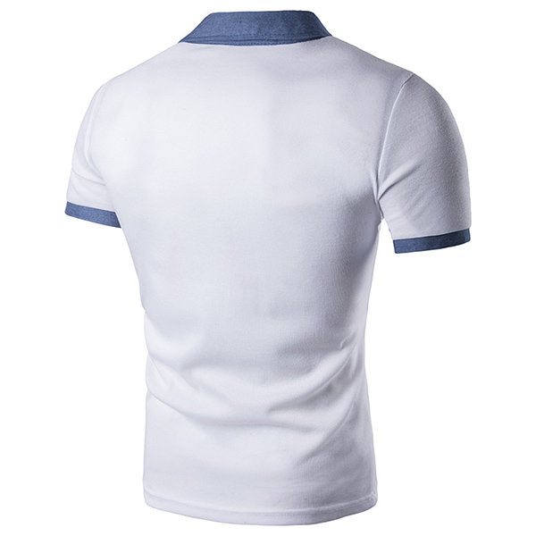Mens Fashion Front Pocket Golf Shirt Turndown Collar Short Sleeve Casual Tops