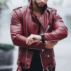 Mens New Fashion Slim High Collar Stitching Motorcycle Jacket