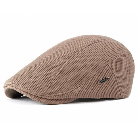 Men Visor Knit Newsboy Beret Caps Outdoor Winter Cabbie Flat Hat