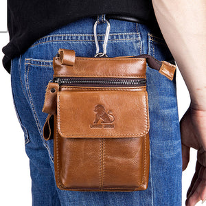 Men's Vintage Leather Messenger Waist Bag
