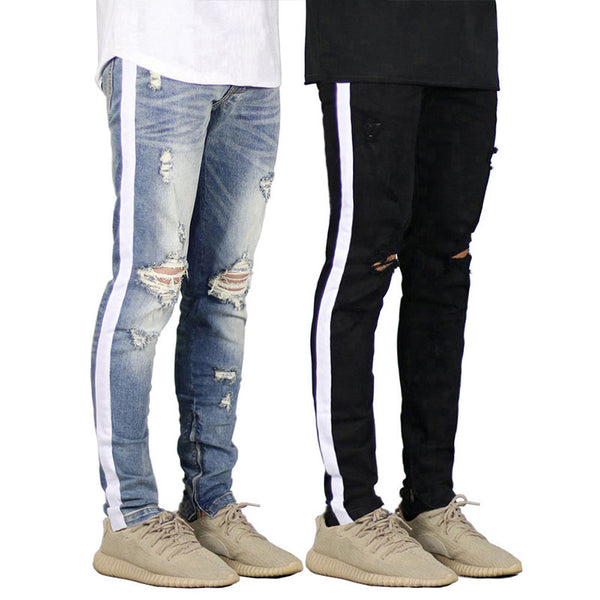 Striped Men's Jeans Big Hole Stretch Slim Jeans
