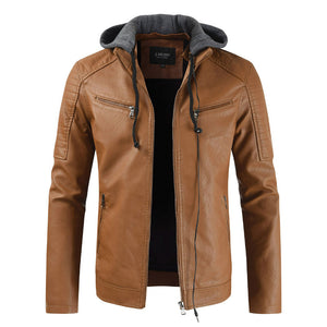Mens Fashion Solid Stand Collar Warm PU Jackets