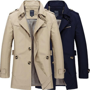 Spring Autumn Men's Casual Long Trench Jacket