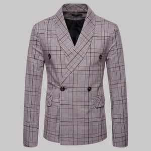 Men's New Check Double Breasted Suit